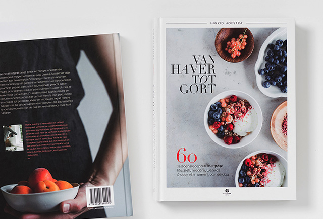 Van haver tot gort, kookboek met recepten en fotografie van Ingrid Hofstra, vormgeving Suzanne Nuis, Hit Ontwerp